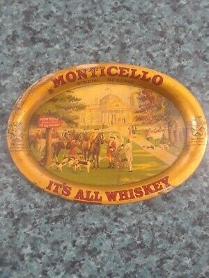 Vtg Oval Monticello Whiskey Adv Tip Tray Great Graphics