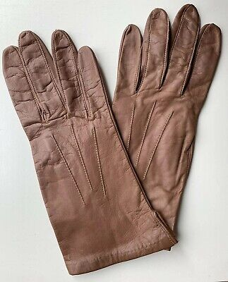 Vintage Aris Brown Real Leather Silk Lined Autumn Driving Gloves, Small