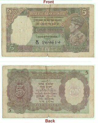 Rare British India 5 Rs Banknote king George VI Portrait Collectible. G5-66 AU