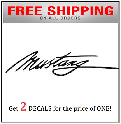 2x Mustang Script signature decal