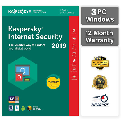 KASPERSKY INTERNET SECURITY 2019  3 PC 1 YEAR | GLOBAL KEY! Sale ! 12.25$