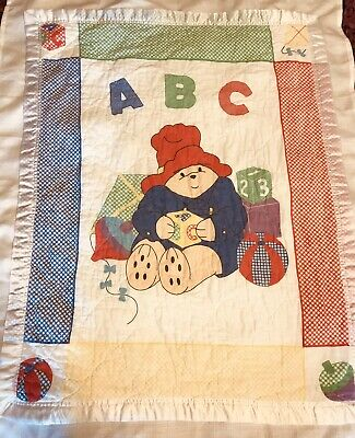 Vintage Paddington Bear Baby Crib Blanket Alphabet Kite GUC White