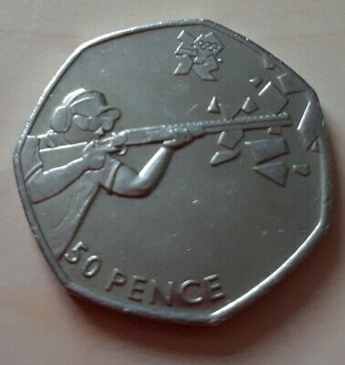 Olympic 50p shooting fifty pence coin circulated 2011