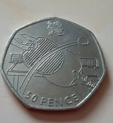 Olympic 50p table tennis fifty pence coin circulated 2011