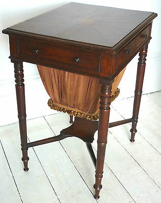 George III period Oak Work Table with marquetry inlay and sunburst top, c.1810.
