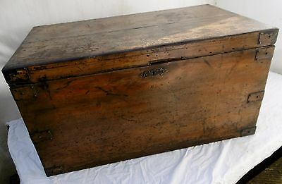 Victorian Pine Coffer with original painted decoration, English circa 1860.