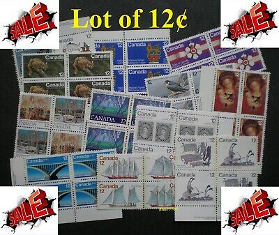 Lot of 100 x 12¢ Vintage Stamps Mint with FULL Gum - 99¢ postage Canada