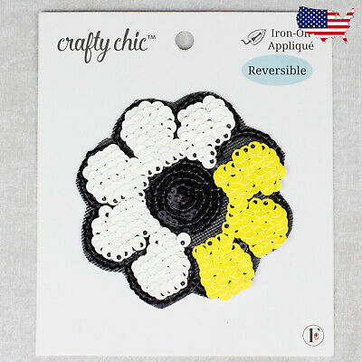 Flower Reversible Sequin Embroidered Iron On Patches-Simplicity White Yellow
