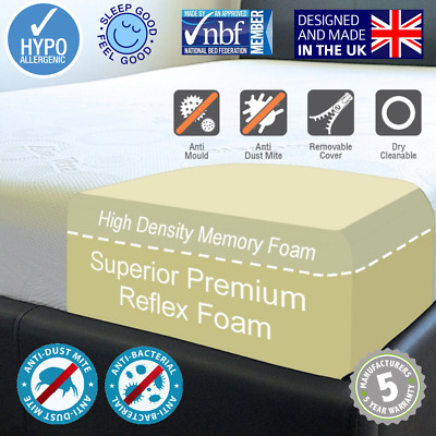 "New Memory Foam Reflex Mattress Double King 3Ft 4Ft 5Ft Depths 4"" 6"" 8"" 10"" 12"""