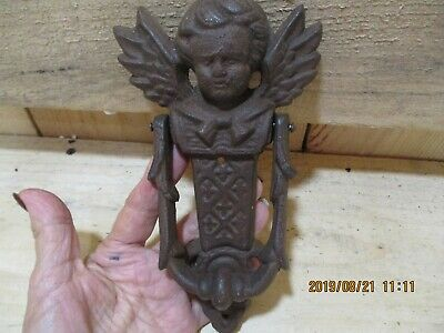 Cast Iron Cherub Door Knocker, Victorian, Circa Late 1800'S, Heavy