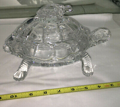 Shannon By Godinger Crystal Turtle Covered Box TRINKET CANDY TORTOISE BABY GLASS