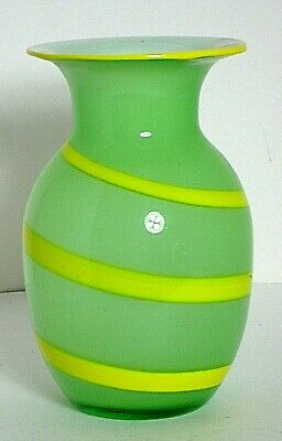 "Vase Hand Blown Art Glass Italian? Light Green Yellow Stripe 9.75"" Tall Vtg"
