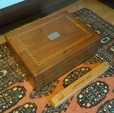 Antique Walnut Inlaid Humidor Cigar Box* Alfred Dunhill London Cigar*