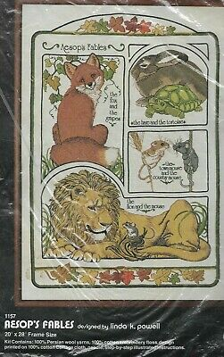 Dimenions Vintage 1979 AESOP'S FABLES Crewel Embroidery Kit,MPN 1157 Repackaged
