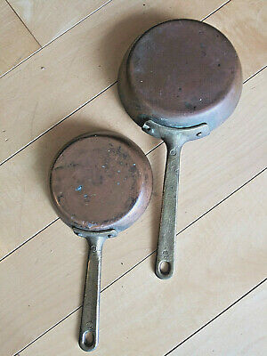 """2 Antique Brass Handled Copper Skillets - Tin Lined, Riveted,  4"""" & 5""""- Uncommon"""