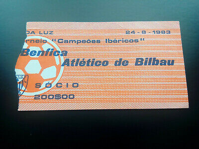 TICKET BENFICA v ATHLETIC BILBAO 1983 FRIENDLY RARE