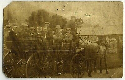 Transport.  Horse Drawn  Charabanc . Old Postcard