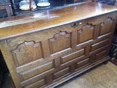 Antique Solid Oak Coffer Mule Chest