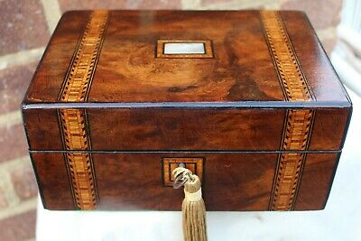 NICE c 1880 TUNBRIDGE STYLE INLAY FIGURED WALNUT JEWELLERY BOX TRINKET TRAY LOKN