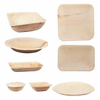 Single Use Dishes from Palm Leaf 25 - 100 Piece Wegwerfgeschirr Party Tableware