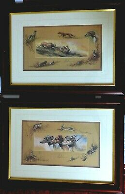 2 X Framed & glazed limited edition signed Greyhound Whippet Lurcher hare prints