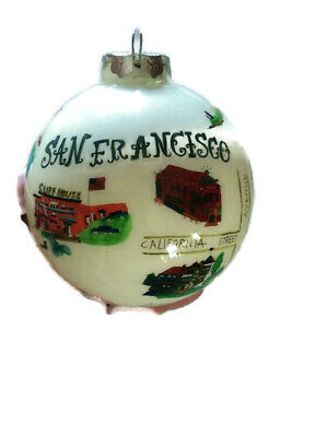 San Francisco California Christmas Ornament Tourist Souvenir Hand Painted Glass