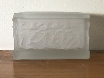 Art Deco Nude Frosted Glass Trinket Box - Mint
