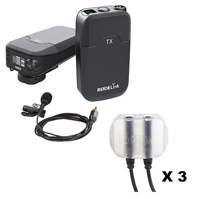 RodeLink Wireless Filmmaker Kit with Rode invisiLav Mounting System (3-Pack)