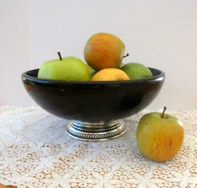 Hunt Silver Co.dark wood fruit bowl with sterling silver-Haiti 1930s-1940s