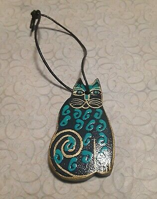LAUREL BURCH Hand Painted Wood Cat Pendant Ornament blue teal gold