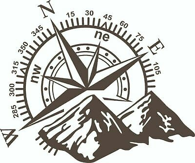 Camper Van, Motorhome, Caravan Decal, Graphic, Compass & Mountains