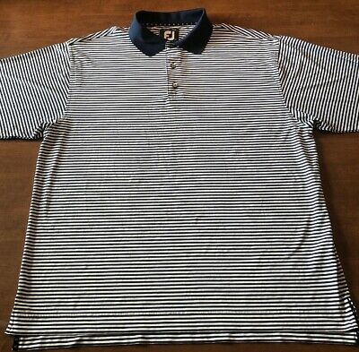 FootJoy FJ PRODRY Lisle Mens Blue & White Striped Golf Polo Shirt Large L