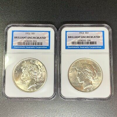 Set of 2 U.S. PEACE Silver DOLLARS NGC Brilliant Uncirculated 1922 1923 BU