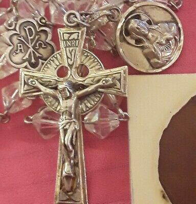 STERLING SILVER LOT:Celtic Crucifix Rosary Beads+Sacred Heart/Mary Medal n0scrap