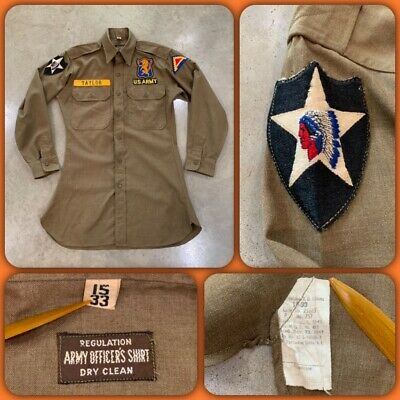 40s WWII 2ND INFANTRY 6Th CAVALRY 7th US ARMY Wool Field Shirt Patch Europe ID'd