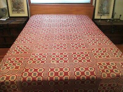 Antique EARLY 1800's Hand Woven Coverlet Natural Dyed Wool,1 Owner Family QUEEN