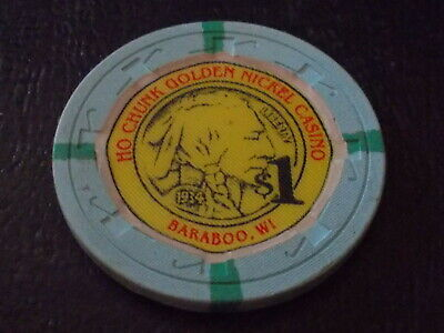 HO CHUNK GOLDEN NICKEL CASINO  $1.00 hotel casino gaming chip ~ Baraboo, WI