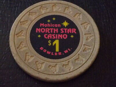 MOHICAN NORTH STAR CASINO $1 hotel casino gaming chip (Bowler, WI)