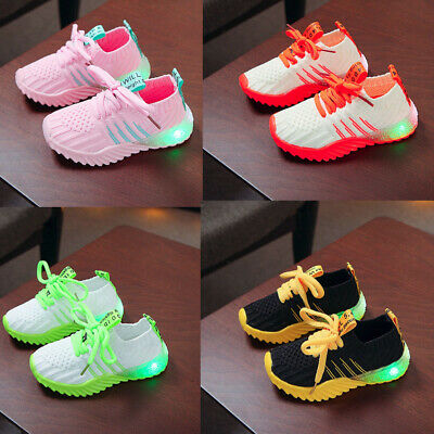Toddler Infant Baby Girls Boys Candy Color Led Luminous Sport Run Sneakers Shoes