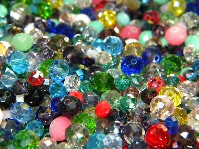 NEW 100/Pc LOT 3-5mm CRYSTAL RONDELLE GLASS Faceted Czech Beads Mixed colors