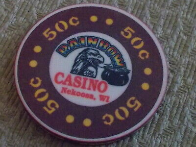 RAINBOW CASINO $0.50 (50¢) hotel casino gaming chip ~ Nekoosa, WI