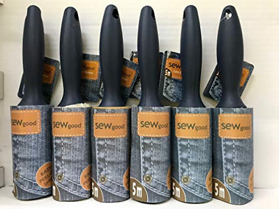 6 X Sew Good Lint Roller Remove Quickly removes Pet Hair, Dirt, Dust and Fluff