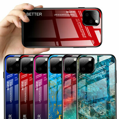 Gradient Marble Glass Hard Bumper Case Cover For iPhone 11 Pro Max XS XR 7 8 6S+