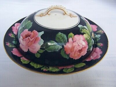 George Jones & Sons Crescent Hand Painted Cabbage Rose Covered Butter dish