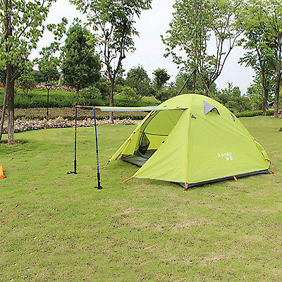 3 Man 210T Family Tent With Awning Camping Double Layer Dome Tent Camping Canopy