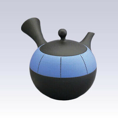 Tokoname Kyusu teapot - JINSUI - Upper Belt Blue - 310cc/ml - Refreshing steel