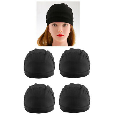 Black Spandex Dome Cap for Making Wigs Nylon Snood Stretchy Hairnet Cap 4pcs