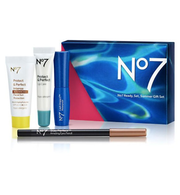No7 Ready, Set, Summer Gift Set Protect & Perfect Stay Lash Impact Present NEW