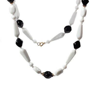 Vintage necklace Czech white round oval teardrop black faceted glass beads