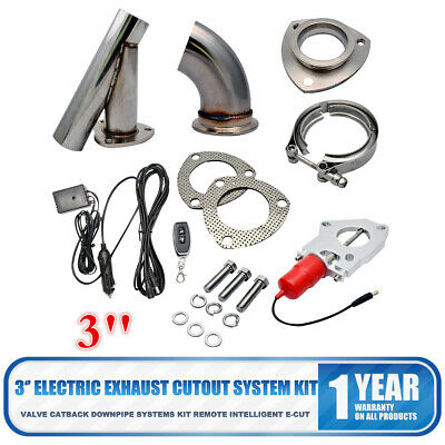 """3"""" Electric Exhaust Catback Downpipe Cutout E-Cut out Valve kit Switch Control"""